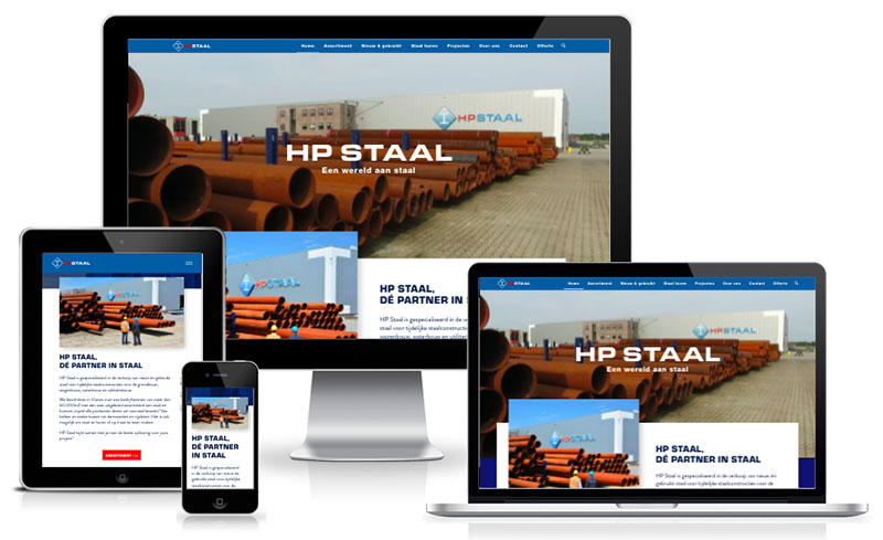hp staal website shown on all devices